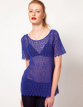 Image 1 ofKookai Floral lace Top