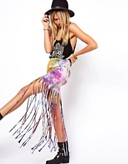 ASOS Festival Skirt in Tie Dye with Fringing