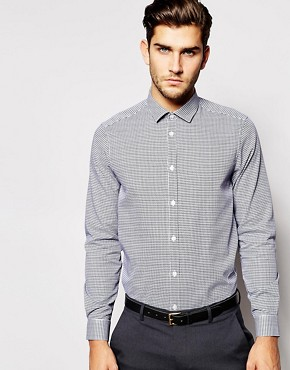 ASOS Smart Shirt In Long Sleeve With Dogtooth Check