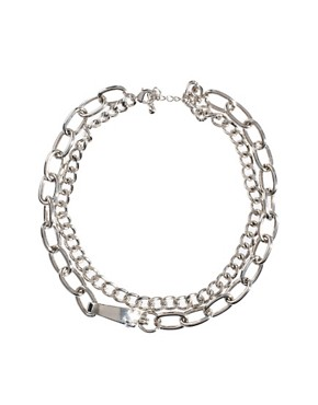 Image 1 ofASOS Double Row Chain Choker Necklaces