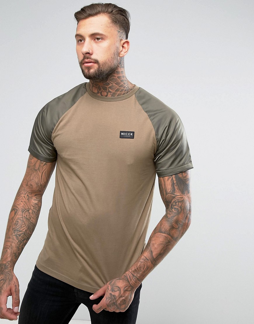 Nicce London T-Shirt With Nylon Sleeves - Khaki