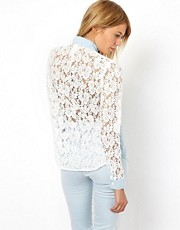 ASOS Denim Shirt with Lace Back and Sleeve Detail