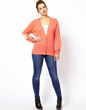 Image 4 ofASOS CURVE Exclusive Cardigan With Lace Elbow Patch