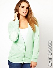 ASOS CURVE Exclusive Cardigan With Lace Elbow Patch
