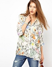 Paul by Paul Smith Oversized Shirt in Collage Floral Print
