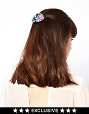 Susan Caplan Exclusive For ASOS Vintage &#39;80s Flower Print Hair Barrette