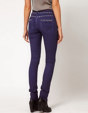 Image 2 ofASOS Skinny Jeans in Studded Oil Wash Blue