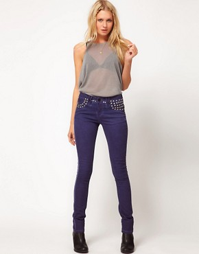 Image 4 ofASOS Skinny Jeans in Studded Oil Wash Blue