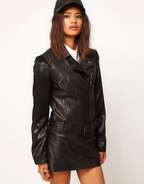 Image 1 ofASOS Leather Jacket With Faux Fur Sleeve