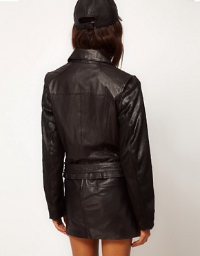 Image 2 ofASOS Leather Jacket With Faux Fur Sleeve