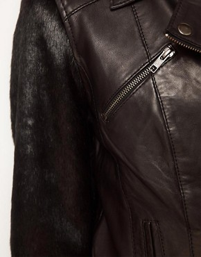 Image 3 ofASOS Leather Jacket With Faux Fur Sleeve