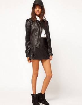 Image 4 ofASOS Leather Jacket With Faux Fur Sleeve