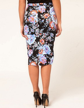 Image 2 ofASOS CURVE Pencil Skirt In Floral Print