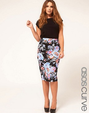 Image 1 ofASOS CURVE Pencil Skirt In Floral Print