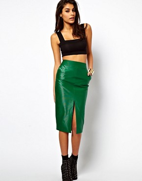 Image 1 ofASOS Pencil Skirt in Wet Look