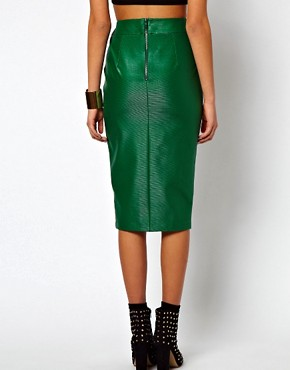 Image 2 ofASOS Pencil Skirt in Wet Look