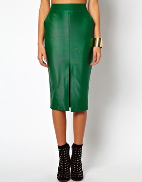 Image 4 ofASOS Pencil Skirt in Wet Look