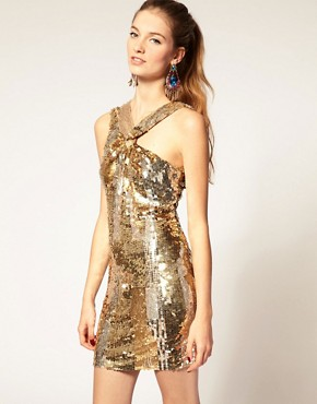 Image 1 of ASOS Sequin Dress with Knot Twist