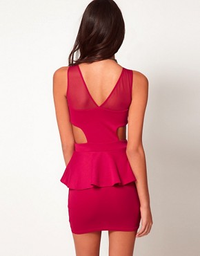 Image 2 ofOh My Love Jersey Peplum Dress with Mesh Detail