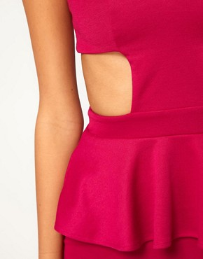 Image 3 ofOh My Love Jersey Peplum Dress with Mesh Detail