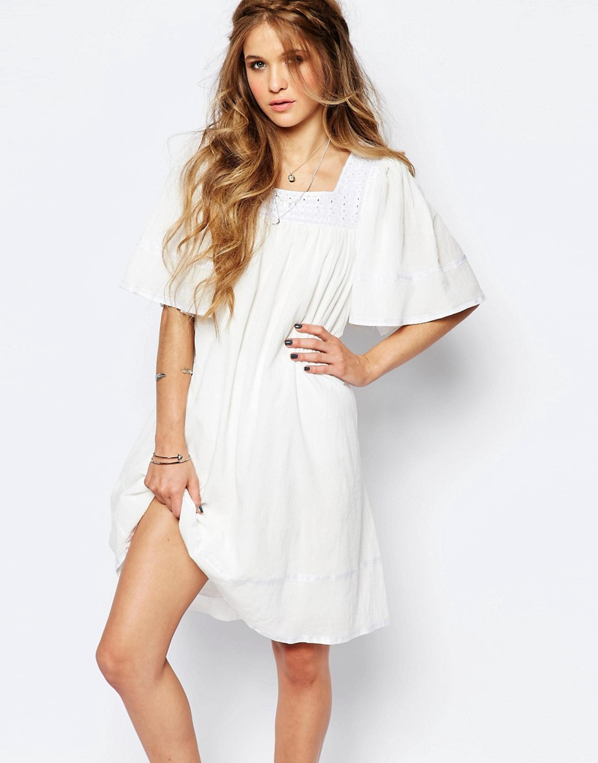 Navy London Angel Smock Dress with Lace Neckline - White