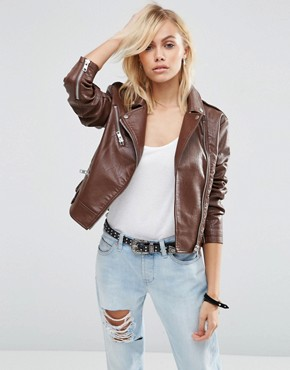 ASOS Biker Jacket in Textured PU