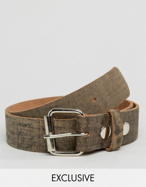 Reclaimed Vintage Distressed Leather Roller Buckle Belt Brown