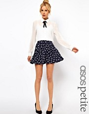 ASOS PETITE Exclusive Skater Skirt In Swallow Print
