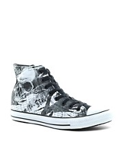 Converse - All Star - Scarpe da ginnastica alte con stampa rock