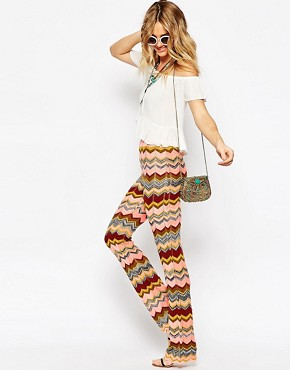 ASOS Knitted Flares In Zig Zag Pattern
