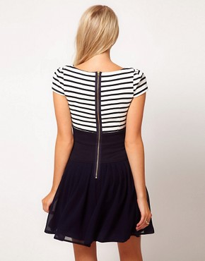 Image 2 ofASOS Skater Dress With Stripe Top And Chiffon Skirt