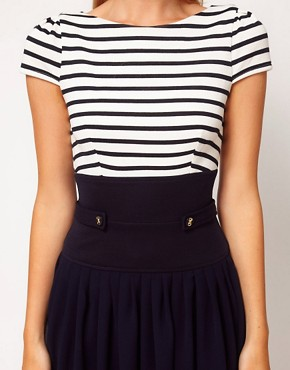 Image 3 ofASOS Skater Dress With Stripe Top And Chiffon Skirt