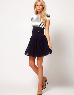 Image 4 ofASOS Skater Dress With Stripe Top And Chiffon Skirt