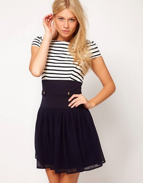 Image 1 ofASOS Skater Dress With Stripe Top And Chiffon Skirt