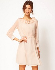 Jovonna Dress With Ruffle Neckline