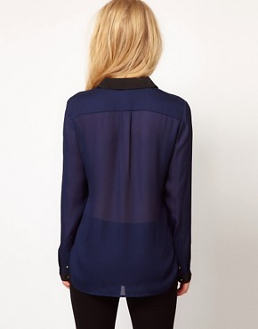 Image 2 ofMango Blouse With Contrast Placket