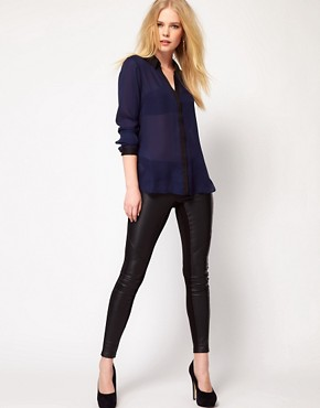 Image 4 ofMango Blouse With Contrast Placket