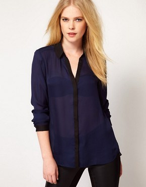 Image 1 ofMango Blouse With Contrast Placket