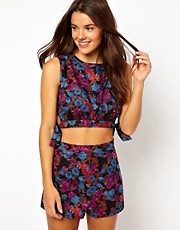 ASOS Floral Print Beach Knot Side Crop Top and Short Set