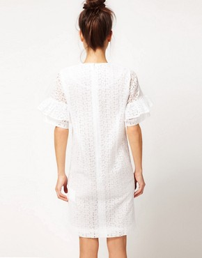Image 2 ofPeter Jensen Straight Dress With Fluted Sleeves In Cotton Broderie