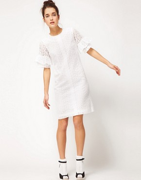 Image 4 ofPeter Jensen Straight Dress With Fluted Sleeves In Cotton Broderie