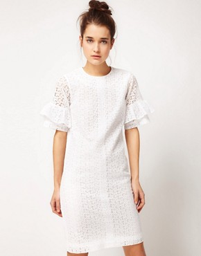 Image 1 ofPeter Jensen Straight Dress With Fluted Sleeves In Cotton Broderie