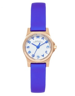 Image 1 ofMarc By Marc Jacobs Mini Henry Blue Leather Strap Watch
