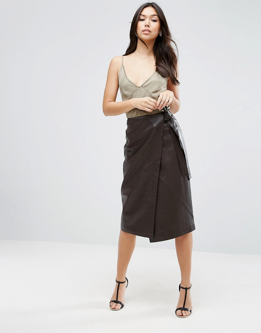 ASOS Textured Leather Skirt with Tie Waist Detail - Brown