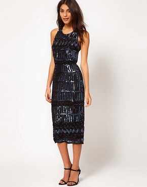 Image 1 ofASOS Midi Dress with Holographic Embellishment