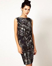 Edun Zebra Print Sleeveless Foldover Dress