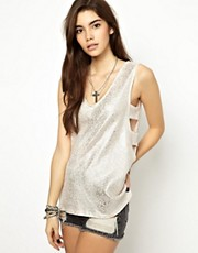 ASOS Tunic with Cut Out Side in Foil