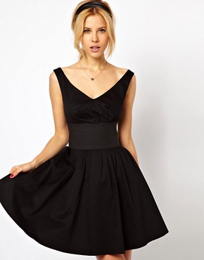 Image 1 ofASOS Skater Dress With Off Shoulder And Deep Waistband