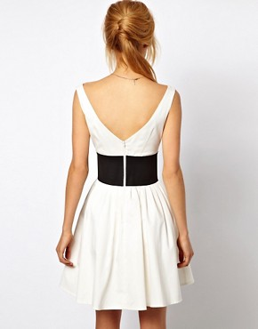 Image 2 ofASOS Skater Dress With Off Shoulder And Deep Waistband