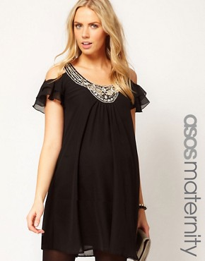 Image 1 ofASOS Maternity Dress With Cut Out Shoulder And Embellishment